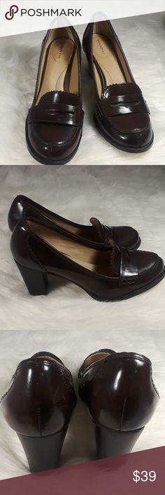 "Lands End Penny loafers high heels preppy 6.5 Lands end preppy penny loafers womens size 6.5 burgundy patent leather heels pumps excellent condition worn a few times. 4"" high. Lands' End Shoes Heels"