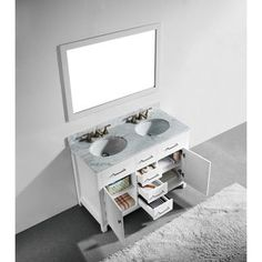 48 Inch White Finish Solid Wood Double Sink Bathroom Vanity With Soft  Closing Drawers,