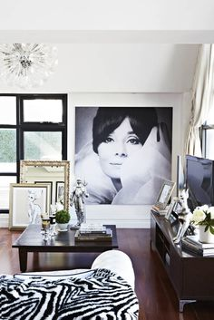 Great use of Audrey Hepburn image {via Adore Home magazine - Megan Hess' home}