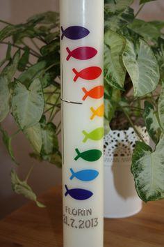 Taufkerzen - Taufkerze Fischschwarm Regenbogen Kommunionkerz... - ein Designerstück von Lichtblicke-Kerzen bei DaWanda