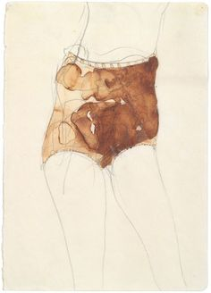 Joseph Beuys, 'Mädchen (Hasenblut),' 1957, Pencil and hare blood on paper, Galerie Ruberl