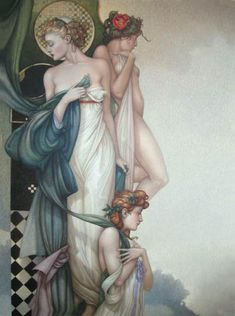 "Parkes, Michael     ""Three Graces, The  (Original Painting)""    Oil on Canvas  51 x 39 inches"