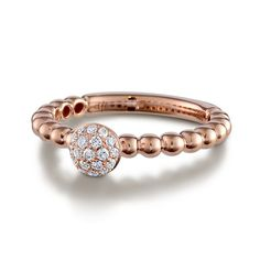 French-Set Diamond Cluster Beaded Engagement Ring - in Rose Gold - (0.16 CTW)