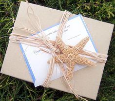 Destination wedding invitation, beach invitation, seaside invitation, starfish invitation, sealife invitation, tropical wedding invitation. $8.95, via Etsy.