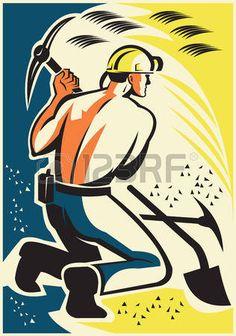 coal miner: Ilustración de un minero minero de carbón cavar con pico hacha dentro mío hecho en estilo retro.
