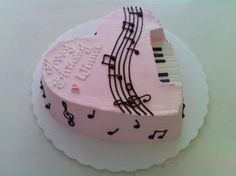 This is my new cake design --My Melody. The idea was from my co-worker. She wanted a pink heart-shaped cake with piano keys and notes on it. Music Themed Cakes, Music Cakes, Heart Shaped Cakes, Heart Cakes, Heart Shaped Birthday Cake, New Cake Design, Cake Designs, Bolo Musical, Music Note Cake