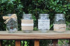 Burlap lace and pearl mason jars