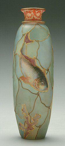 Royal Flemish Vase with Fish Design, Mount Washington Glass, 1876 - 1900