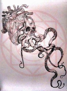 #Skull #heart #kraken