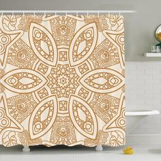 """Ambesonne Tribal Ethnicity Shower Curtain Set Size: 84"""" H x 69"""" W x 1"""" D"""