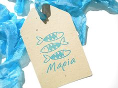 Custom 3 Little Fish Olive Wood Stamp by ahueofduckeggblue on Etsy, $20.50