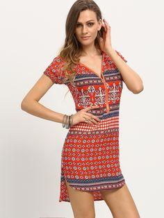 Zip+Front+Tribal+Print+High-Low+Dress+17.99