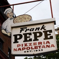 I-95, Connecticut  Pit Stop: Frank Pepe's, 157 Wooster Street, New Haven, CT, (203) 865-5762   As you're passing through New Haven, you will get a whiff of bubbling, beautifully charred Neapolitan pizzas wafting from just west of the highway. That would be Frank Pepe's, a Connecticut — if not a New England — institution.  Road Tip: The white clam pizza is a must.