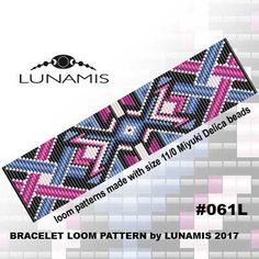 Loom bracelet pattern, loom pattern, square stitch pattern, pdf file, pdf pattern, cuff, #061L by LunamisBeadsPatterns on Etsy
