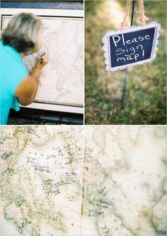 world map guestbook #guestbook #weddingceremony #weddingchicks http://www.weddingchicks.com/2014/02/10/cant-rush-love-wedding/