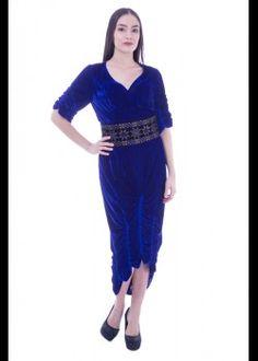 Rochie catifea albastra cu cordon