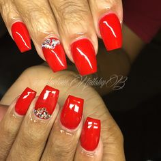 Red coffin Swarovski crystals  acrylic nails follow on Instagram @audacious.nailsbyb