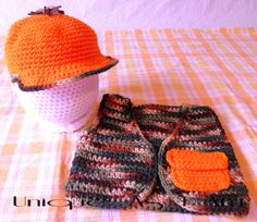 Hey, I found this really awesome Etsy listing at https://www.etsy.com/listing/183104890/crocheted-baby-hunting-hat-and-vest