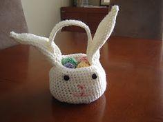 Crocheted bunny basket.