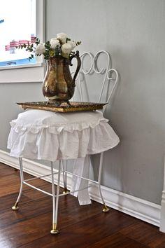 Vintage Metal Scroll Wire Vanity Chair, Seat, Stool | Antiques ...
