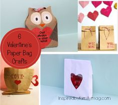 6 Valentines paper bag crafts - Great for class treats or party favors and V-day gift giving!