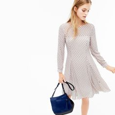 J.Crew Looks We Love: women's stadium-cloth cocoon coat, long-sleeve textured dot dress, leather calf hair saddlebag and Collection caged gladiator flats.
