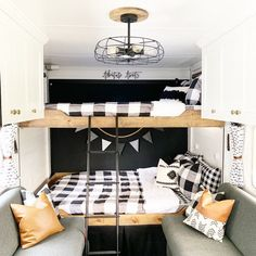 Living in an RV is such an amazing thing to do, right? When you need to makeover your RV interior, you can consider farmhouse style. Fendt Caravan, Bunk Bed Sets, Rv Bunk Beds, Hymer, Zipper Bedding, Dining Room Light Fixtures, Camper Makeover, Camper Renovation, Remodeled Campers