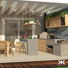 Varanda Gourmet coberta for this pergolated concrete with glass numa proposta mild and agradável to gather friends in special data. Patio Design, House Design, Indoor Outdoor Living, Outdoor Decor, Sweet Home Design, Weekend House, Interior And Exterior, Outdoor Furniture Sets, New Homes