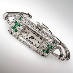 Art Deco 1930's Gruen Precision Emerald Diamond Ladies Watch Platinum Antique | eBay