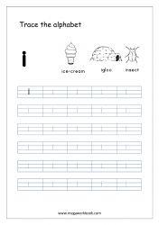 Alphabet Tracing Worksheet - Alphabet Tracing Sheets - Small Letter i English Alphabet Writing, Alphabet Writing Practice, Alphabet Book, Learning Letters, Alphabet Letters, Spanish Alphabet, Free Printable Alphabet Worksheets, Letter Worksheets For Preschool, Preschool Alphabet