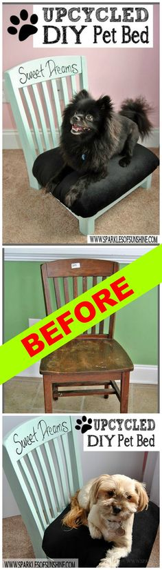 An old chair has the legs cut off and gets upholstered as part of an upcycled DIY pet bed ~ my pooch would have loved this! http://www.hometalk.com/l/Tu