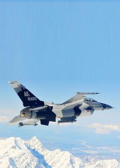 F-16 Alaska snow mountains