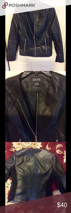 Kenneth Cole Reaction jacket Black has some material on sleeves Kenneth Cole Reaction Jackets & Coats Jean Jackets