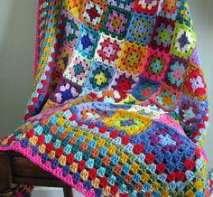 Granny Squares Crochet Blanket Afghan Big Border