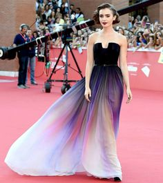 #throwback Lily Collins in THAT OMBRÉ DRESS by Elie Saab at the 2014 Rome Film Festival