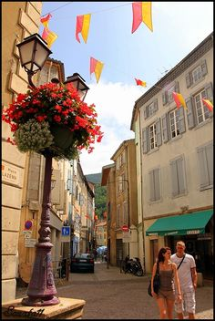 Place Lazéma Narrow Steet Of Foix Town - Foix, Midi-Pyrenees, France