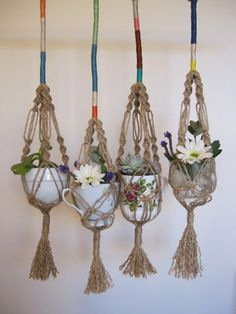 Mini Macrame Plant Hanger  $60.00  Hand knotted jute macrame hanger, perfect for a tea cup, treasured ceramic or glass (vessels not included).    Each hanger is ever so slightly different to the next with a colour cotton spectrum bound at the top.    They look lovely with small plant cuttings in water, fresh flowers or mini succulents.