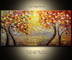 Bright Shiny Morning Landscape Abstract Tree Original Painting