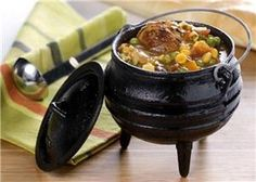 "Potjie - directly translated ""little pot"" from Afrikaans or Dutch is traditionally a round cast iron three-legged (tripod) pot. Braai Recipes, Beef Recipes, Cooking Recipes, Cooking Tips, Oven Cooking, Curry Recipes, Recipies, South African Dishes, South African Recipes"