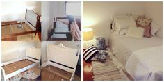 Shabby-chic style. Bed transformation project. White bedroom.