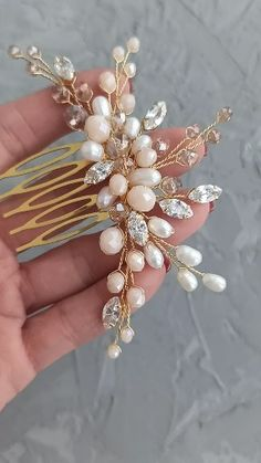 acsesuares accessories Bridal gold hair comb with freshwater pearl, pale peach and beige beads and cubic zirconia crystals, Wedding hair piece, Wedding headpiece / Buy on Etsy / ED Accessory / Ready to ship! Wedding Hair Flowers, Hair Comb Wedding, Wedding Hair Pieces, Flowers In Hair, Bridal Comb, Headpiece Wedding, Beach Wedding Headpieces, Pearl Headpiece, Boho Wedding