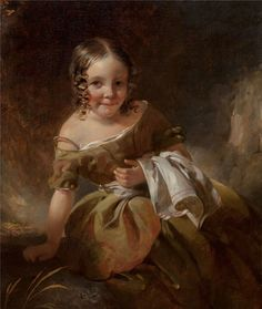 John Watson Gordon Portrait of young girl with curls in an olive green dress