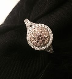 Halo champagne diamond ring