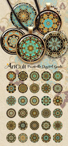"""1"""" (25mm) and 30mm size printable circle images ORNAMENTAL ROSETTES digital…"""
