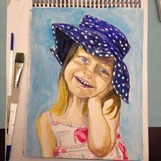 Summer hat as modeled by my little Anais who is mad I didn't let her stay up to watch me paint her.. Good thing as it is after midnight! #instaartist #watercolor #illustration #artwork #art #dailypainting #hat #artistmom #summer #uptoolate #portrait #polkadots
