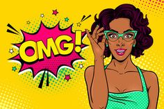 Wow female face. Sexy surprised black young woman in glasses with open mouth and curly hair and OMG speech bubble. Vector bright background in pop art retro comic style. Party invitation poster.