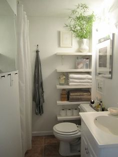 How to Decorate a Small Downstairs Toilet - Love Chic Living - - Looking for downstairs toilet ideas? These tips on how to decorate a small downstairs toilet will really help your room look bigger and less cluttered! Bad Inspiration, Bathroom Inspiration, Small Downstairs Toilet, Downstairs Bathroom, Small Toilet, Master Bathroom, Cozy Bathroom, Bamboo Bathroom, Bathroom Shop