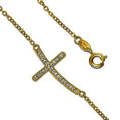 Sideway Cross CZ 14K Yellow Gold Plated Fancy Charm Bracelet