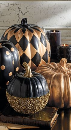 This Black and Gold Glitter Pumpkin may be relatively petite in size, but it is positively enormous in designer personality.