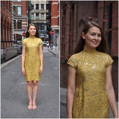 Kleid Vintage 1960er Jahre Gold Cheongsam 60er von MyntVintage